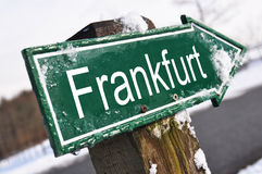 Frankfurt road sign. At winter road Stock Images