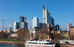 Frankfurt's Skyline by Main River  in Frankfurt Stock Photos