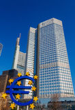 Frankfurt. Sculptural composition euros. Royalty Free Stock Images
