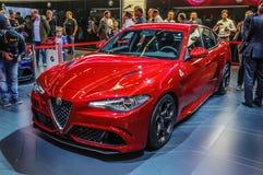 FRANKFURT - SEPT 2015: Alfa Romeo Giulia przedstawiał przy IAA stażystą fotografia royalty free