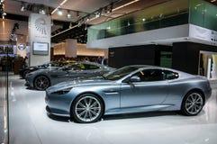 FRANKFURT - 21 SEPT.: Aston Martin DB9 als wereldeerste minister die wordt voorgesteld Royalty-vrije Stock Afbeeldingen