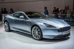 FRANKFURT - 21 SEPT.: Aston Martin DB9 als wereldeerste minister die wordt voorgesteld Stock Afbeelding