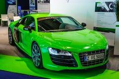 FRANKFURT - SEPT. 2015: Audi R8 e-Tron bij IAA Internati wordt voorgesteld die Stock Afbeeldingen
