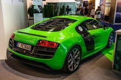 FRANKFURT - SEPT. 2015: Audi R8 e-Tron bij IAA Internati wordt voorgesteld die Royalty-vrije Stock Foto