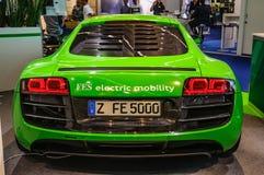 FRANKFURT - SEPT 2015: Audi R8 e-tron presented at IAA Internati Stock Images