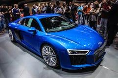 FRANKFURT - SEPT. 2015: Audi R8 V10 bij IAA Internationa wordt voorgesteld die Royalty-vrije Stock Foto