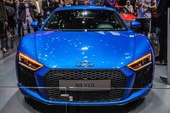 FRANKFURT - SEPT. 2015: Audi R8 V10 bij Internationale die IAA wordt voorgesteld Royalty-vrije Stock Foto's