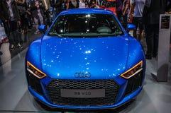 FRANKFURT - SEPT. 2015: Audi R8 V10 bij Internationale die IAA wordt voorgesteld Royalty-vrije Stock Afbeelding