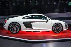 FRANKFURT - SEPT. 2015: Audi R8 V10 plus voorgesteld bij IAA Stock Afbeeldingen