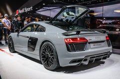 FRANKFURT - SEPT. 2015: Audi R8 V10 plus voorgesteld bij IAA Stock Foto