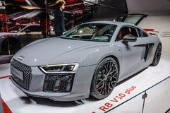 FRANKFURT - SEPT. 2015: Audi R8 V10 plus voorgesteld bij IAA Stock Foto's