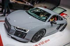 FRANKFURT - SEPT. 2015: Audi R8 V10 plus voorgesteld bij IAA Royalty-vrije Stock Foto's