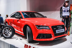 FRANKFURT - SEPT 21: AUDI RS7 presented as world premiere at the Royalty Free Stock Photo