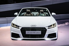 FRANKFURT - SEPT 2015: Audi TT 2.0 TDI Ultra cabrio presented at Stock Photos