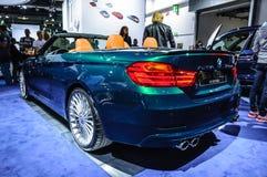 FRANKFURT - SEPT 2015: BMW Alpina D4 Biturbo som in framläggas på IAA Royaltyfri Bild