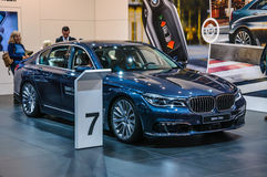 FRANKFURT - SEPT 2015: BMW 730d presented at IAA International M Royalty Free Stock Images