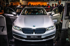 FRANKFURT - SEPT 2015: BMW 740Le presented at IAA International Motor Show Royalty Free Stock Images