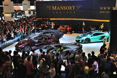 FRANKFURT - SEPT 14: Ferrari Mansory 458 Italia and Lamborghini Royalty Free Stock Images