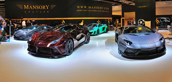 FRANKFURT - SEPT 14: Ferrari Mansory 458 Italia and Lamborghini Royalty Free Stock Photo