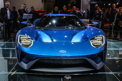 FRANKFURT - SEPT 2015: Ford GT supercar concept presented at IAA Royalty Free Stock Photo