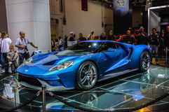 FRANKFURT - SEPT 2015: Ford GT supercar concept presented at IAA. International Motor Show on September 20, 2015 in Frankfurt, Germany Royalty Free Stock Images