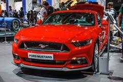 FRANKFURT - SEPT. 2015: Ford Mustang bij Internationale die IAA wordt voorgesteld Royalty-vrije Stock Afbeelding