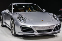 FRANKFURT - SEPT 2015: Framlagd Porsche 911 991 Carrera S kupé Arkivfoton