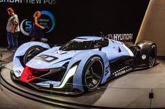 FRANKFURT - SEPT. 2015: Het Concept van de Visiegran Turismo van Hyundai N 2025 Stock Afbeelding