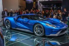 FRANKFURT - SEPT. 2015: Het supercar die concept van Ford GT bij IAA wordt voorgesteld Stock Afbeelding