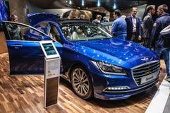 FRANKFURT - SEPT 2015: Hyundai Genesis presented at IAA Internat Royalty Free Stock Photo