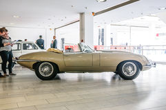 FRANKFURT - SEPT 2015: Jaguar E-Type cabrio 1963 presented at IAA Stock Images