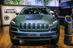 FRANKFURT - SEPT 2015: Jeep Cherokee presented at IAA International Motor show Stock Photo