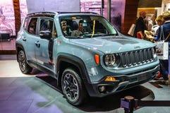 FRANKFURT - SEPT. 2015: Jeep Renegade bij IAA Internatio wordt voorgesteld die Stock Foto's