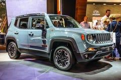 FRANKFURT - SEPT. 2015: Jeep Renegade bij IAA Internatio wordt voorgesteld die Stock Foto