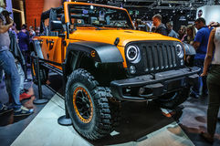 FRANKFURT - SEPT 2015: Jeep Wrangler presented at IAA International Motor show Stock Photo