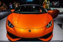 FRANKFURT - SEPT. 2015: Lamborghini HURACAN LP prese 610-4 SPYDER Royalty-vrije Stock Afbeelding