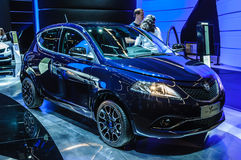 FRANKFURT - SEPT. 2015: Lancia Ypsilon bij IAA Internati wordt voorgesteld die Stock Afbeelding