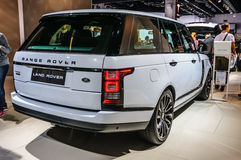 FRANKFURT - SEPT. 2015: Land Rover Range Rover bij IAA I wordt voorgesteld die Stock Foto