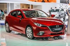 FRANKFURT - SEPT 2015: Mazda3 som framläggas på IAA-Internationalkvickheten Arkivfoton