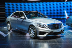 FRANKFURT - SEPT 21: Mercedes-Benz S63 AMG presented as world pr. Emiere at the 65th IAA (Internationale Automobil Ausstellung) on September 21, 2013 in Stock Photography