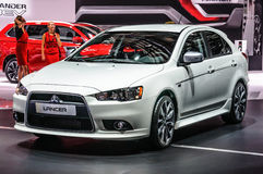 FRANKFURT - SEPT 2015: Mitsubishi Lancer X presented at IAA Inte Royalty Free Stock Images