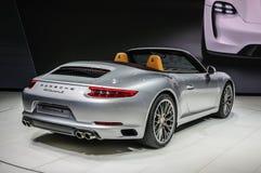 FRANKFURT - SEPT 2015: Porsche 911 991 Carrera S cabriopresente Royaltyfri Fotografi
