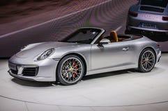 FRANKFURT - SEPT 2015: Porsche 911 991 Carrera S cabriopresente Royaltyfria Foton