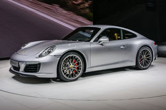 FRANKFURT - SEPT 2015: Porsche 911 991 Carrera S coupe presented. At IAA International Motor Show on September 20, 2015 in Frankfurt, Germany Royalty Free Stock Photos