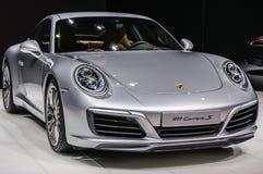 FRANKFURT - SEPT 2015: Porsche 911 991 Carrera S coupe presented Stock Photos