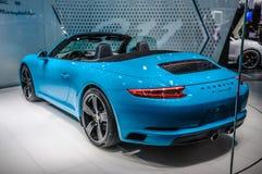 FRANKFURT - SEPT 2015: Porsche 911 991 Carrera S som framläggas på IA Arkivfoton