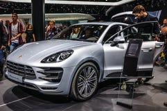 FRANKFURT - SEPT. 2015: Porsche Macan Turbo bij IAA Inte wordt voorgesteld die Royalty-vrije Stock Foto's