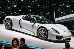 FRANKFURT - SEPT. 2015: Porsche 918 Spyder bij IAA wordt voorgesteld Interdie Royalty-vrije Stock Foto's