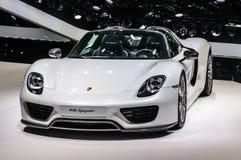 FRANKFURT - SEPT. 2015: Porsche 918 Spyder bij IAA wordt voorgesteld Interdie Royalty-vrije Stock Fotografie
