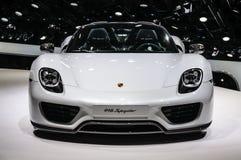 FRANKFURT - SEPT. 2015: Porsche 918 Spyder bij IAA wordt voorgesteld Interdie Stock Fotografie